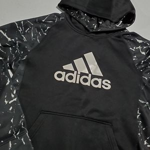 Adidas Black & White Boys large Hoodie Sweater